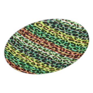 Stripes colorful Animal print fur of leopard Dinner Plates
