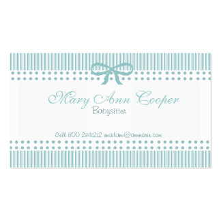 Stripes Cute Babysitter Delicate Blue Pack Of Standard Business Cards