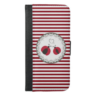 Stripes Cute trendy girly ladybugs in love iPhone 6/6s Plus Wallet Case