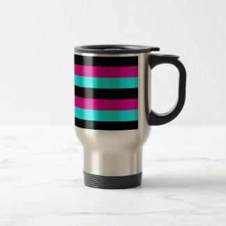 STRIPES Cyan Black Hot Pink Stripe Coffee Mugs