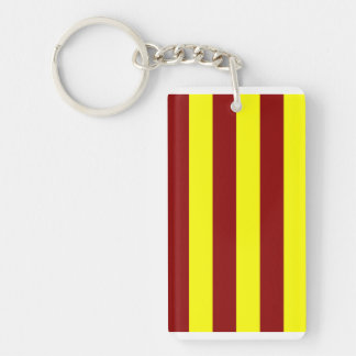 Stripes - Dark Red and Yellow Rectangle Acrylic Key Chain
