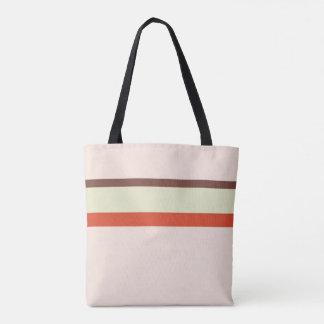 Stripes design natural pink brown red green tote bag
