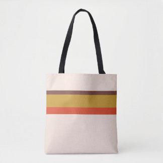 Stripes design natural pink red brown yellow tote bag