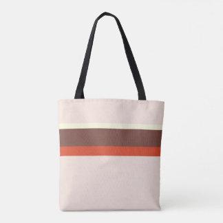 Stripes design natural pink red cream brown tote bag