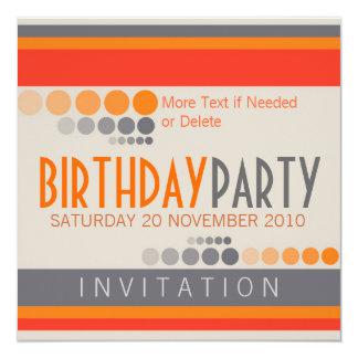 Stripes Dots Birthday Party Invitations