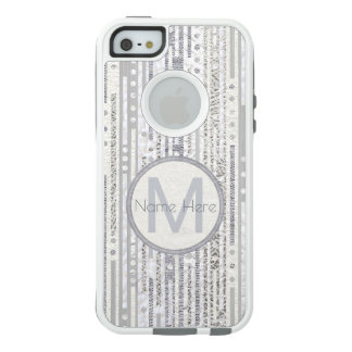 Stripes Dots Silver White iphoneSE Trendy Gray OtterBox iPhone 5/5s/SE Case