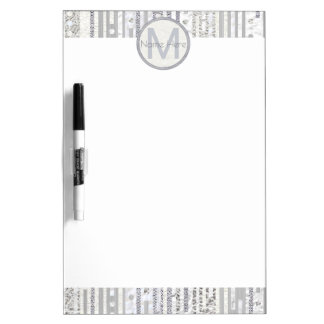 Stripes Dots Silver White School Office Sparkle Dry Erase Boards