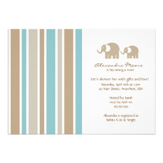 Stripes Elephants Baby Shower Invitation