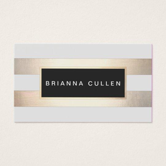 Stripes FAUX Gold Foil and Black Salon Appointment