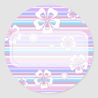 Stripes & Flowers Classic Round Sticker