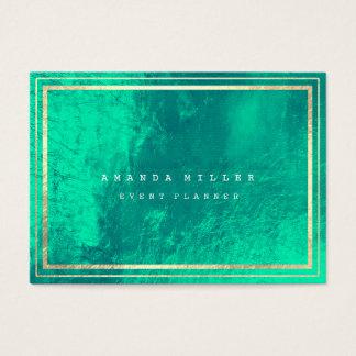 Stripes Framed Emerald Green Gold Metallic Glass Business Card