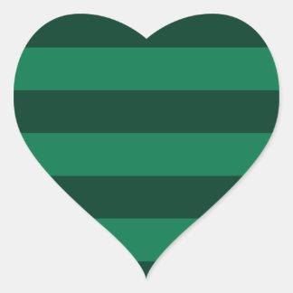 Stripes - Green and Dark Green Heart Sticker