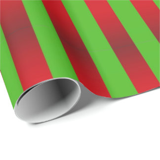 Stripes Green on Red Wrapping Paper