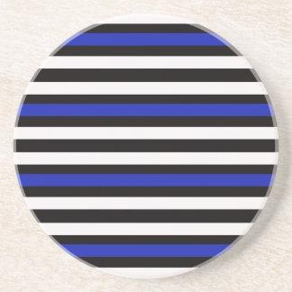 Stripes Horizontal Blue Black White Coaster
