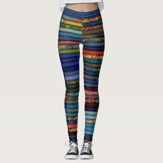 stripes, horizontal, blues, original art leggings