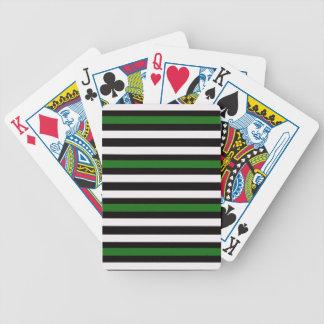 Stripes Horizontal Green Black White Bicycle Playing Cards