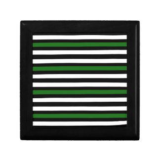 Stripes Horizontal Green Black White Gift Box