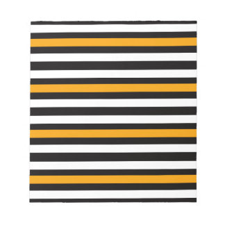 Stripes Horizontal Orange Black White Notepad