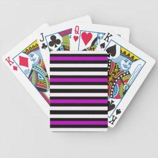 Stripes Horizontal Purple Black White Bicycle Playing Cards
