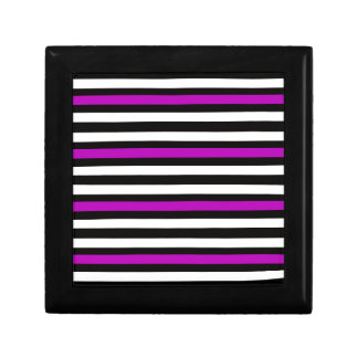 Stripes Horizontal Purple Black White Gift Box