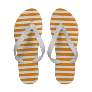 Stripes in orange white womens flip flops sandals