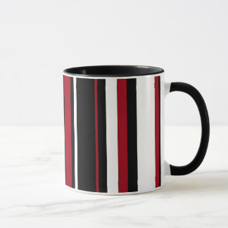 Stripes in Red Black and White Mug