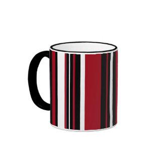 Stripes in Red Black and White Ringer Mug