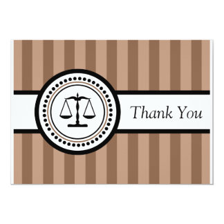 Stripes Legal Scales Thank You Card (Brown)