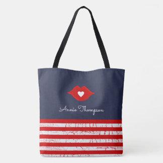 stripes, lips & love heart stylish tote bag
