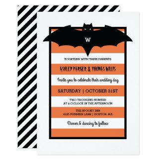 Stripes & Monogram | Orange Halloween Wedding Card