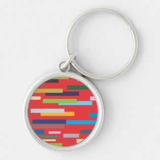 Stripes of Colour Keyring/Keychain Silver-Colored Round Key Ring