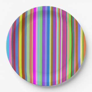 Stripes of Various Colors Paper Plate