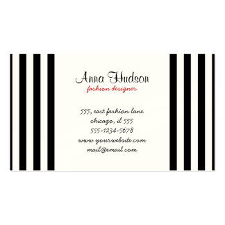 Stripes Parallel Lines - White Black Business Card Templates