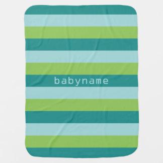 Stripes Pattern custom monogram baby blanket