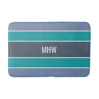 Stripes Pattern custom monogram bath mats