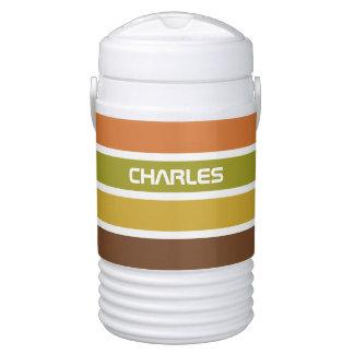 Stripes Pattern custom monogram beverage coolers Cooler