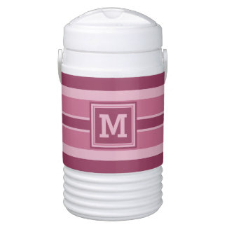 Stripes Pattern custom monogram beverage coolers Drinks Cooler