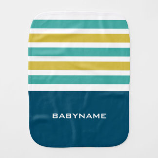 Stripes Pattern custom monogram burp cloth