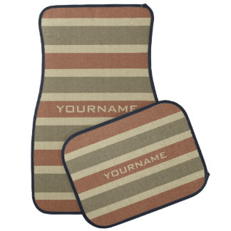 Stripes Pattern custom monogram car floor mats