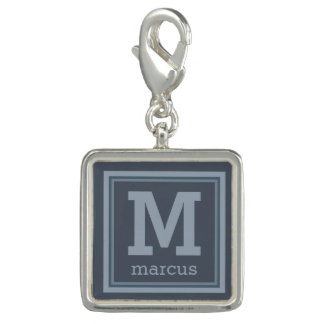 Stripes Pattern custom monogram charm / bracelet