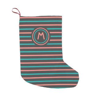 Stripes Pattern custom monogram Christmas stocking