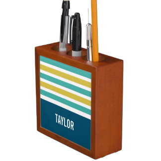 Stripes Pattern custom monogram desk organizer