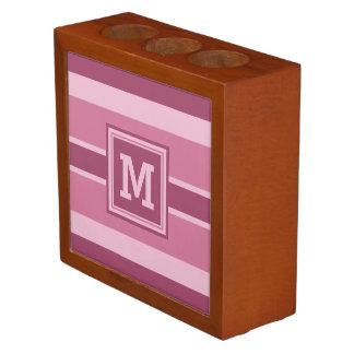 Stripes Pattern custom monogram desk organizer