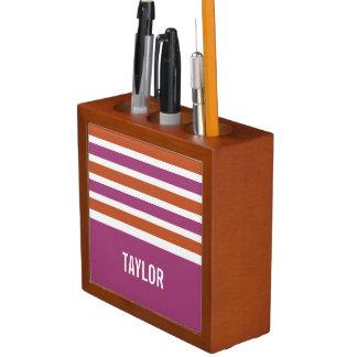 Stripes Pattern custom monogram desk organizer Desk Organiser