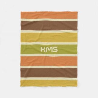 Stripes Pattern custom monogram fleece blankets