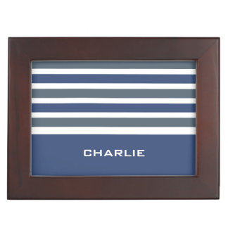 Stripes Pattern custom monogram keepsake box
