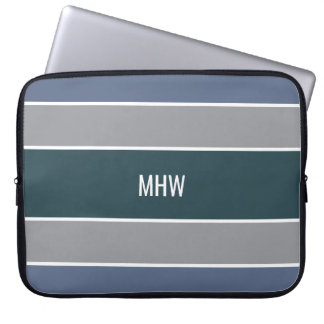 Stripes Pattern custom monogram laptop sleeves