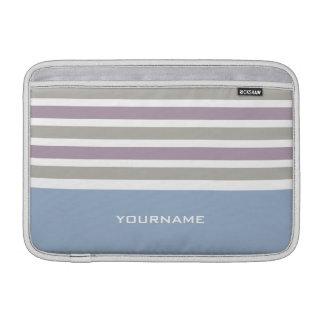 Stripes Pattern custom monogram MacBook sleeve