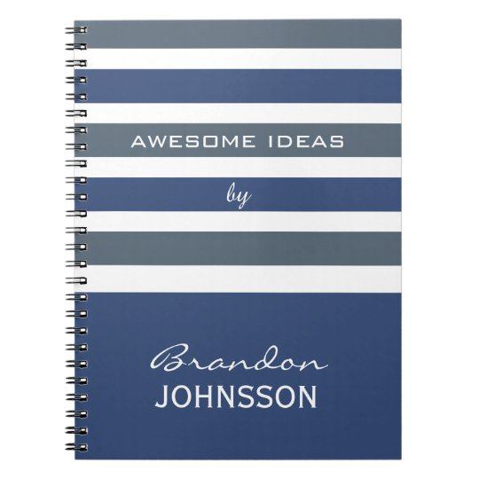 Stripes Pattern custom monogram notebook