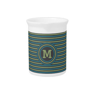 Stripes Pattern custom monogram pitcher